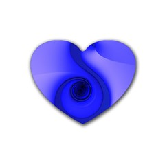 Blue Spiral Note Rubber Coaster (heart)  by CrypticFragmentsDesign
