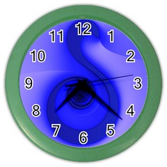 Blue Spiral Note Color Wall Clocks by CrypticFragmentsDesign
