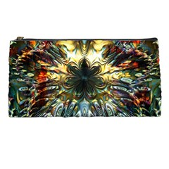 Metallic Abstract Flower Copper Patina Pencil Cases by CrypticFragmentsDesign