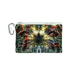 Metallic Abstract Flower Copper Patina Canvas Cosmetic Bag (s) by CrypticFragmentsDesign