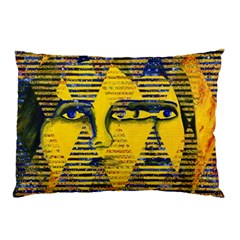 Conundrum Ii, Abstract Golden & Sapphire Goddess Pillow Case by DianeClancy