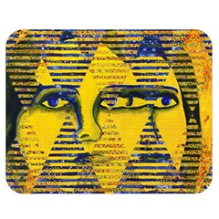 Conundrum Ii, Abstract Golden & Sapphire Goddess Double Sided Flano Blanket (medium)  by DianeClancy