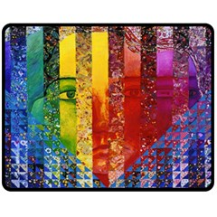 Conundrum I, Abstract Rainbow Woman Goddess  Fleece Blanket (medium)  by DianeClancy