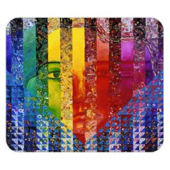 Conundrum I, Abstract Rainbow Woman Goddess  Double Sided Flano Blanket (small)  by DianeClancy