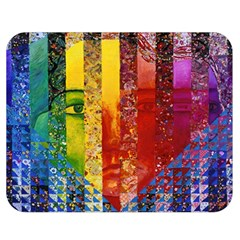 Conundrum I, Abstract Rainbow Woman Goddess  Double Sided Flano Blanket (medium)  by DianeClancy