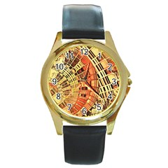 Semi Circles Abstract Geometric Modern Art Orange Round Gold Metal Watch by CrypticFragmentsDesign