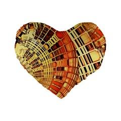 Semi Circles Abstract Geometric Modern Art Orange Standard 16  Premium Heart Shape Cushions by CrypticFragmentsDesign