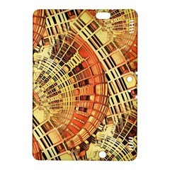 Semi Circles Abstract Geometric Modern Art Orange Kindle Fire Hdx 8 9  Hardshell Case by CrypticFragmentsDesign