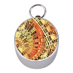 Semi Circles Abstract Geometric Modern Art Orange Mini Silver Compasses by CrypticFragmentsDesign