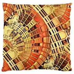 Semi Circles Abstract Geometric Modern Art Orange Large Flano Cushion Case (one Side) by CrypticFragmentsDesign