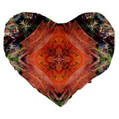 Boho Bohemian Hippie Floral Abstract Faded  Large 19  Premium Heart Shape Cushions by CrypticFragmentsDesign