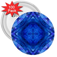 Boho Bohemian Hippie Tie Dye Cobalt 3  Buttons (100 Pack)  by CrypticFragmentsDesign