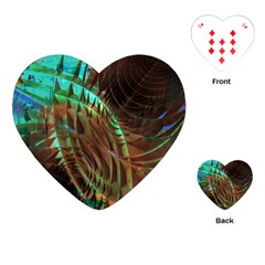 Metallic Abstract Copper Patina  Playing Cards (heart)  by CrypticFragmentsDesign