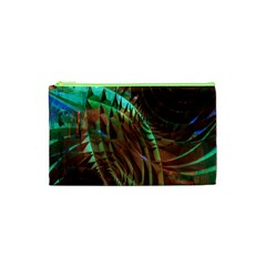 Metallic Abstract Copper Patina  Cosmetic Bag (xs) by CrypticFragmentsDesign