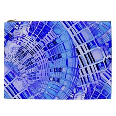 Semi Circles Abstract Geometric Modern Art Blue  Cosmetic Bag (xxl)  by CrypticFragmentsDesign