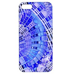 Semi Circles Abstract Geometric Modern Art Blue  Apple Iphone 5 Hardshell Case With Stand by CrypticFragmentsDesign