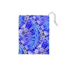 Semi Circles Abstract Geometric Modern Art Blue  Drawstring Pouches (small)  by CrypticFragmentsDesign