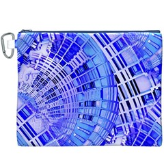 Semi Circles Abstract Geometric Modern Art Blue  Canvas Cosmetic Bag (xxxl)  by CrypticFragmentsDesign