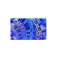 Semi Circles Abstract Geometric Modern Art Blue  Cosmetic Bag (xs) by CrypticFragmentsDesign