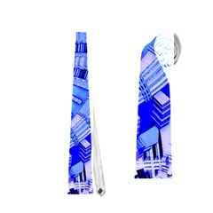 Semi Circles Abstract Geometric Modern Art Blue  Neckties (one Side)  by CrypticFragmentsDesign