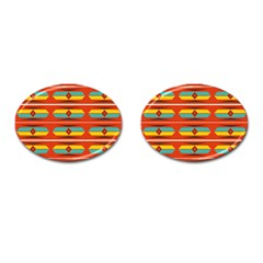 Shapes In Retro Colors Pattern                        			cufflinks (oval) by LalyLauraFLM