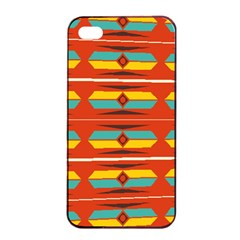 Shapes In Retro Colors Pattern                        			apple Iphone 4/4s Seamless Case (black) by LalyLauraFLM