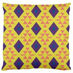 Tribal Shapes And Rhombus Pattern                        	large Flano Cushion Case (two Sides) by LalyLauraFLM