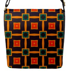 Connected Shapes In Retro Colors                         flap Closure Messenger Bag (s) by LalyLauraFLM