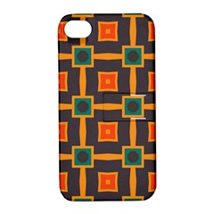 Connected shapes in retro colors                         Apple iPhone 4/4S Hardshell Case with Stand by LalyLauraFLM