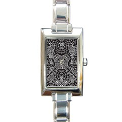 Mariager, Bold Flower Design, Black & White Rectangle Italian Charm Watch by Zandiepants