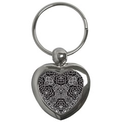 Mariager, Bold Flower Design, Black & White Key Chain (heart) by Zandiepants