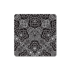 Mariager, Bold Flower Design, Black & White Magnet (square) by Zandiepants