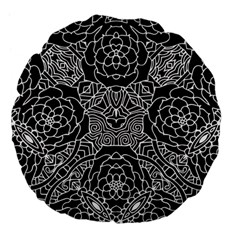 Mariager, Bold Flower Design, Black & White Large 18  Premium Flano Round Cushion  by Zandiepants