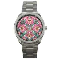 Petals, Carnival, Bold Flower Design Sport Metal Watch by Zandiepants