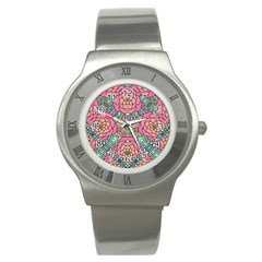 Petals, Carnival, Bold Flower Design Stainless Steel Watch by Zandiepants