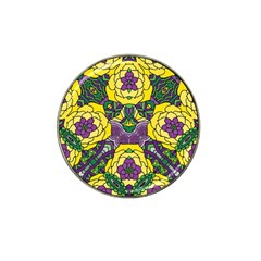 Petals In Mardi Gras Colors, Bold Floral Design Hat Clip Ball Marker (10 Pack) by Zandiepants