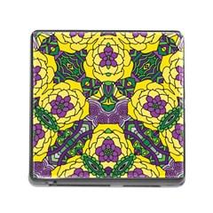 Petals in Mardi Gras colors, Bold Floral Design Memory Card Reader (Square) by Zandiepants
