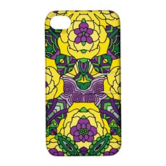Petals In Mardi Gras Colors, Bold Floral Design Apple Iphone 4/4s Hardshell Case With Stand by Zandiepants