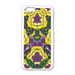 Petals In Mardi Gras Colors, Bold Floral Design Apple Iphone 6/6s White Enamel Case by Zandiepants