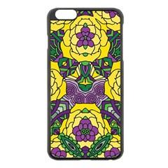 Petals in Mardi Gras colors, Bold Floral Design Apple iPhone 6 Plus/6S Plus Black Enamel Case