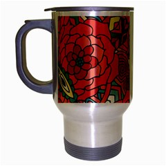 Petals In Pale Rose, Bold Flower Design Travel Mug (silver Gray) by Zandiepants