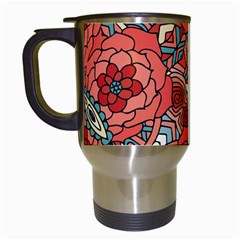 Petals In Pale Rose, Bold Flower Design Travel Mug (white) by Zandiepants