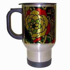 Petals, Retro Yellow, Bold Flower Design Travel Mug (silver Gray) by Zandiepants