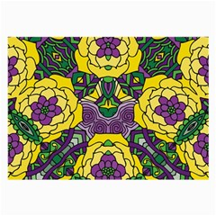 Petals In Mardi Gras Colors, Bold Floral Design Large Glasses Cloth (2 Sides) by Zandiepants