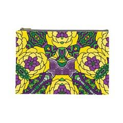 Petals In Mardi Gras Colors, Bold Floral Design Cosmetic Bag (large) by Zandiepants