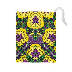 Petals In Mardi Gras Colors, Bold Floral Design Drawstring Pouch (large) by Zandiepants