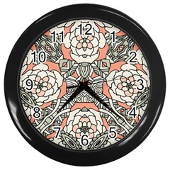 Petals In Vintage Pink, Bold Flower Design Wall Clock (black) by Zandiepants