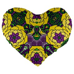 Petals In Mardi Gras Colors, Bold Floral Design Large 19  Premium Flano Heart Shape Cushion by Zandiepants