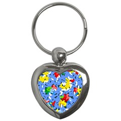 Rectangles Mix                          			key Chain (heart) by LalyLauraFLM