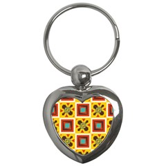 Retro Colors Squares Pattern                            			key Chain (heart) by LalyLauraFLM